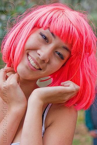 asian girl with pink wig, asian woman, party, pink wig, raver