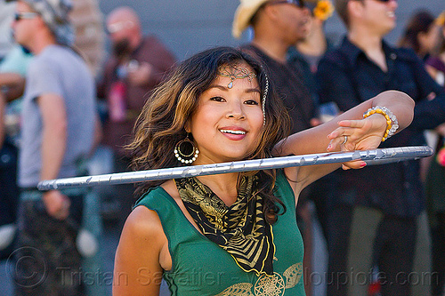 asian girl with silver hoop, asian woman, burning man decompression, earrings, forehead jewelry, hooper, hooping, hula hoop