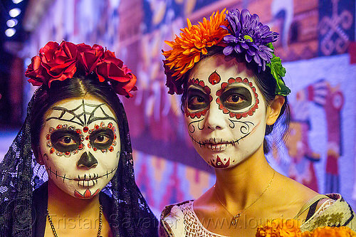 asian women with sugar skull makeup and flower headdress - dia de los muertos (san francisco), asian woman, asian women, day of the dead, dia de los muertos, face painting, facepaint, flower headdress, flowers, halloween, night, sugar skull makeup