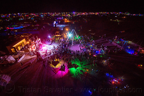 at night - burning man 2015, black rock city, burning man, glowing, night, sextan tower, sin city