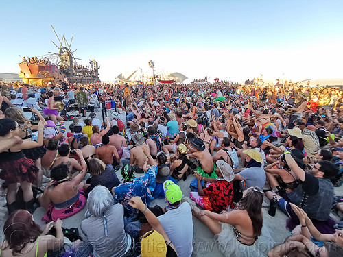 audience of black rock philharmonic orchestra - burning man 2019, burning man, crowd