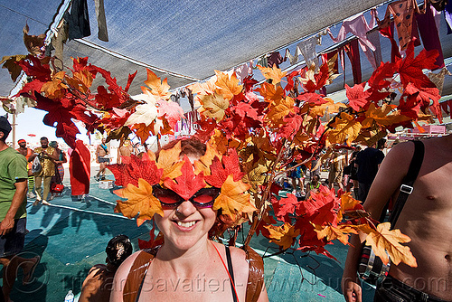 autumn leaves costume hat, autumn, burning man, center camp, costume, fall, hat, headdress, headwear, mapple leaves, woman