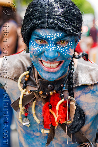 avatar costume, bay to breakers, blue, color contact lenses, contacts, face painting, facepaint, festival, footrace, hat, headdress, makeup, man, matthew, necklace, people, special effects contact lenses, street party, theatrical contact lenses, yellow color contact lenses