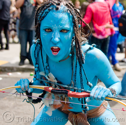 avatar costume, arrows, avatar, bay to breakers, beads, blue, body art, body paint, body painting, bow, braid, braided hair, contacts, costume, festival, footrace, special effects contact lenses, street party, theatrical contact lenses, warrior, woman, yellow color contact lenses