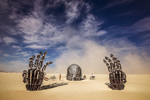 awakening - burning man 2016, art installation, awakening, burning man, hands, head, skull