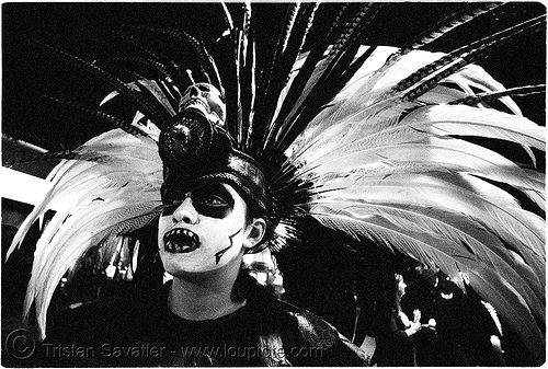 aztec dance group 'xolo, sacred dance' - dia de los muertos - halloween (san francisco) - teresa, aztec dancer, costumes, day of the dead, dia de los muertos, feathers, halloween, hat, makeup, night, p3200tmz, pushed, sacred dance, teresa, the mission, tmax, woman, xolo