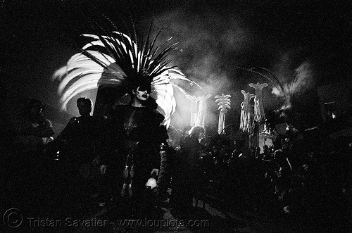 aztec dance group 'xolo, sacred dance' - dia de los muertos - halloween (san francisco) - teresa, aztec dancer, costumes, day of the dead, dia de los muertos, feathers, halloween, hat, makeup, night, p3200tmz, pushed, sacred dance, theresa, tmax, xolo