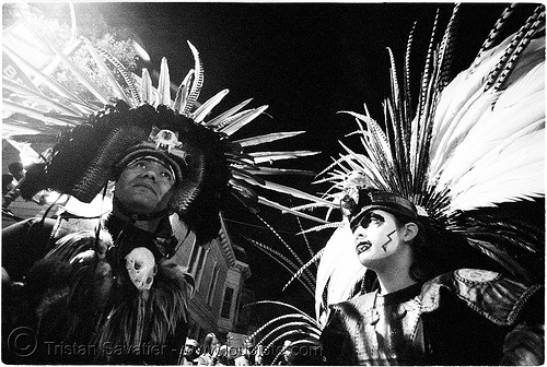 aztec dance group 'xolo, sacred dance' - dia de los muertos - halloween (san francisco) - thomas and teresa, aztec dancer, costumes, day of the dead, feathers, hat, makeup, mission, night, p3200tmz, people, pushed, the mission, tmax