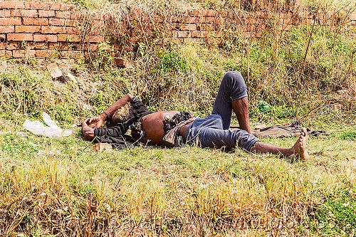 baba (hindu holy man) sleeping on grass (nepal), baba, bare feet, beard, bells, bhaktapur, grass, hinduism, lawn, lying down, man, resting, sadhu, sleeping