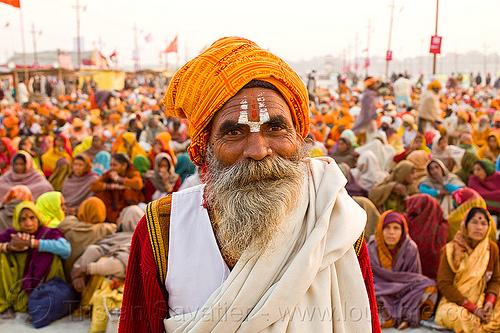 baba - hindu pilgrims - kumbh mela 2013 (india), ashram, baba, crowd, hindu, hinduism, holy prasad, kumbha mela, maha kumbh mela, man, pilgrims, rows, sadhu, sitting, tilak, tilaka, white beard, yatris