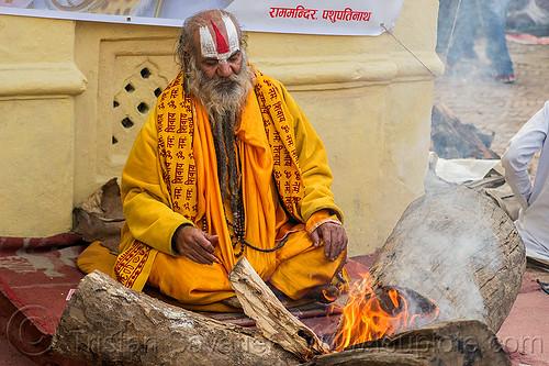 baba in saffron color cloth sitting at bonfire (nepal), beard, bhagwa, burning, festival, fire, flames, hindu, hinduism, kathmandu, maha shivaratri, man, pashupati, pashupatinath, people, sadhu, smoke