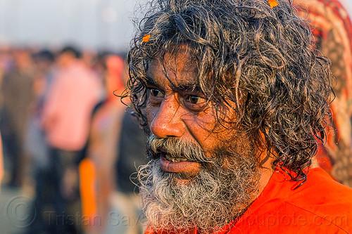 baba returning from holy bath - kumbh mela (india), baba, beard, hindu, hinduism, kumbh maha snan, kumbha mela, maha kumbh mela, man, mauni amavasya, sadhu
