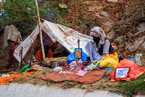 baba's makeshift camp - shivaratri festival at pashupatinath temple - kathmandu (nepal), babas, camp, camping, encampment, hinduism, kathmandu, maha shivaratri, men, pashupatinath, sadhus, sitting, tent