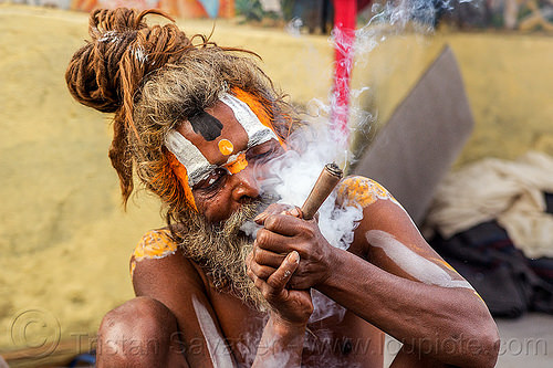 baba smoking chillum of weed - shivaratri (nepal), baba, beard, chillum, dreadlocks, ganja, hindu, hinduism, kathmandu, knotted hair, maha shivaratri, man, pashupatinath, sadhu, smoke, smoking, tilak, weed