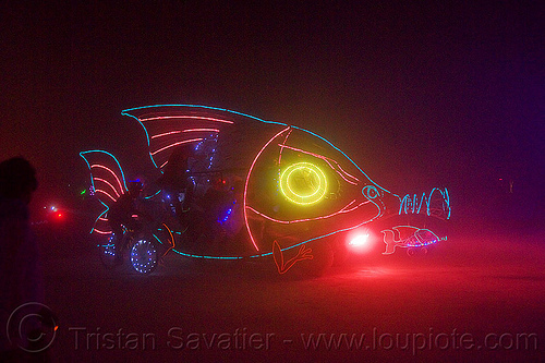 babel fish art car - burning man 2013, dust storm, el-wire, glowing, night, white out