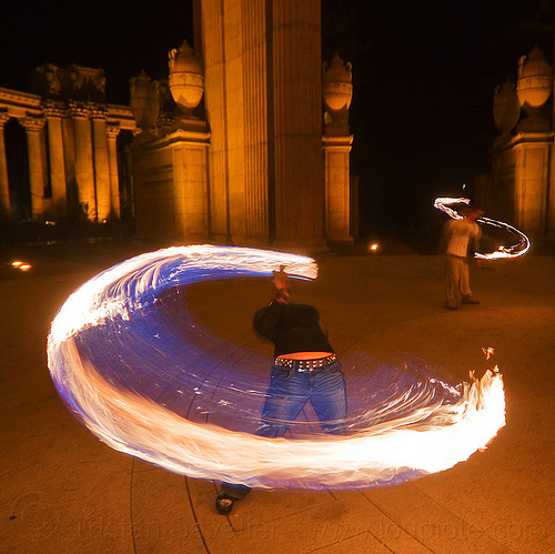 back stretching while spinning fire rope, ally, fire dancer, fire dancing, fire jumping rope, fire performer, fire rope, fire spinning, night, palace of fine arts, woman