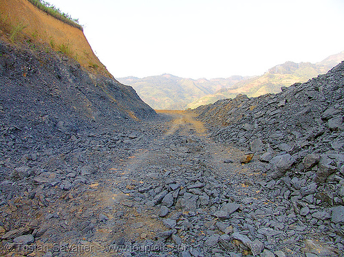 bad rocky road - vietnam, dirt road, earth road, unpaved, vietnam