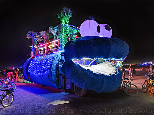 badman bus art car - burning man 2019, art car, burning man, mutant vehicles, night