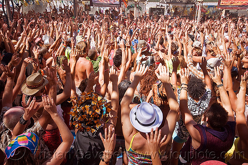 bali monkey chant - burning man 2010, burning man, center camp, crowd, hands up, kecak, ketjak, monkey chant, raised hands