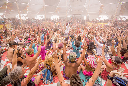 balinese monkey chant - burning man 2015, center camp, crowd, hands up, kecak, ketjak, monkey chant, raised hands
