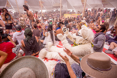 balinese monkey chant workshop - burning man 2015, center camp, cosplay, costume, crowd, fur, furry, kecak, ketjak, people, polar bear, white