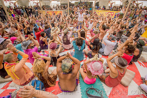 balinese monkey chant workshop - burning man 2015, burning man, center camp, crowd, hands up, kecak, ketjak, monkey chant, raised hands