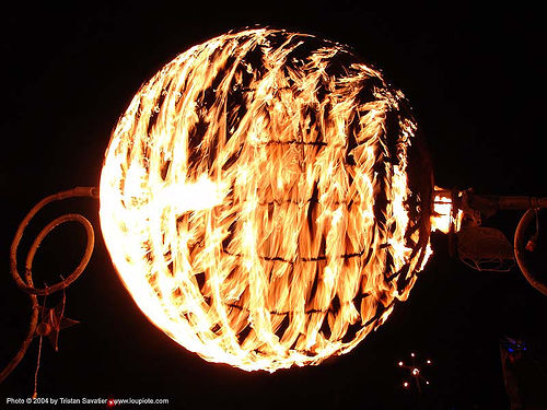 ball of fire - burning-man 2004, art installation, ball, burn, burning man, fire, flames, flaming lotus girls, night, sphere