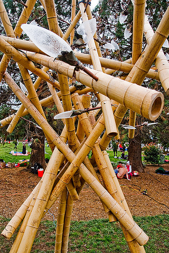 bamboo art - burning man decompression 2009 (san francisco), art, bamboo, burning man decompression, sculpture