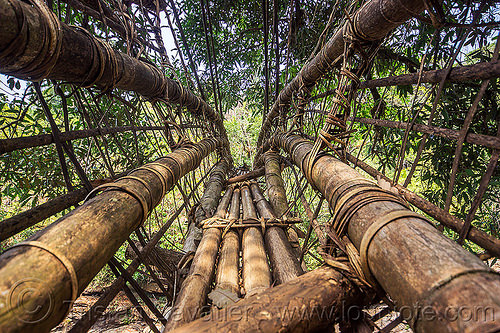 bamboo bridge (india), bamboo bridge, east khasi hills, footbridge, india, jungle, mawlynnong, meghalaya, rain forest, river