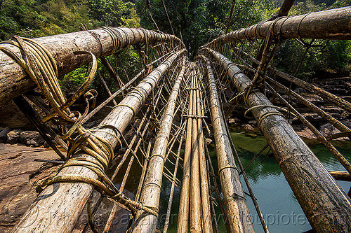 bamboo bridge - mawlynnong (india), bamboo bridge, east khasi hills, footbridge, india, jungle, mawlynnong, meghalaya, rain forest, river
