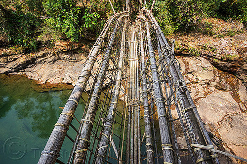 bamboo bridge near mawlynnong in the east khasi hills (india), bamboo bridge, east khasi hills, footbridge, jungle, mawlynnong, meghalaya, rain forest, river, water