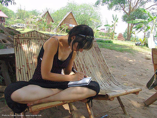 bamboo chairs - thailand, bamboo chairs, cross-legged, garden, hostel, sitting, thailand, woman, writing