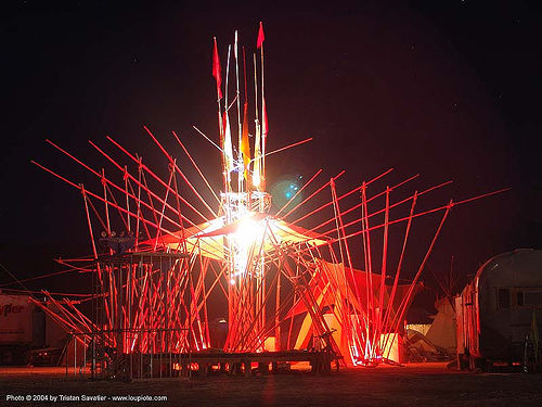 bamboo trapezium by gerard minakawa - burning-man 2004, art installation, bamboo trapezium, burning man, gerard minakawa, night