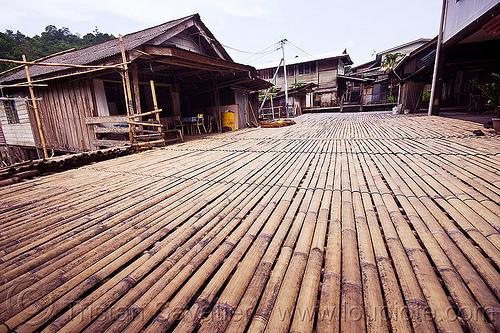 bamboo walkway - annah rais longhouse (borneo), annah rais, bamboo, longhouse, street, village, walkway