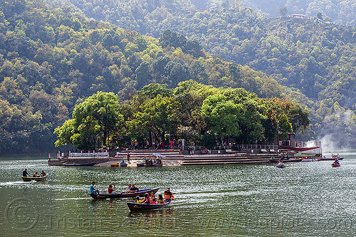 barahi island on pokhara lake (nepal), forest, island, lake, pokhara, river boats, trees