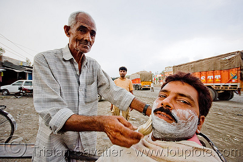 barber shaving a man (india), men, people, road, shave, shaving cream, street barber, working