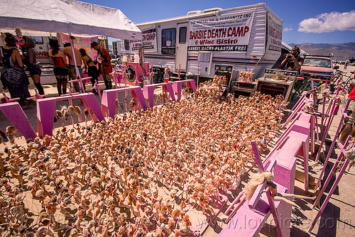 barbie death camp - burning man 2015, barbie death camp, barbie dolls, burning man, concentration camp, many