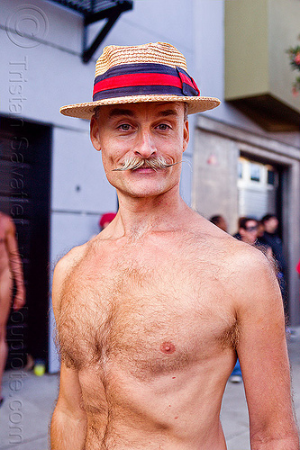 bare chested man with mustache and straw hat, bare chest, man, mustache, randal smith, straw hat