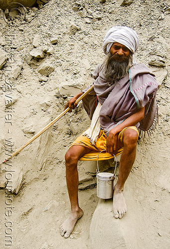 bare-feet sadhu (hindu holy man) - amarnath yatra (pilgrimage) - kashmir, amarnath yatra, baba, bare feet, barefoot, beard, hiking cane, hindu holy man, hindu pilgrimage, hinduism, india, kashmir, old man, pilgrim, resting, sadhu, trekking, walking stick