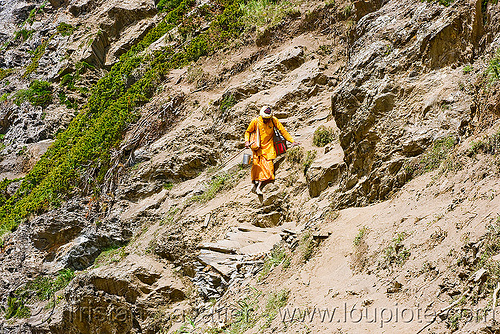 bare-feet sadhu (hindu holy man) on trail - amarnath yatra (pilgrimage) - kashmir, amarnath yatra, baba, bare feet, barefoot, hiking, hindu holy man, hindu pilgrimage, hinduism, india, kashmir, mountain trail, mountains, pilgrims, sadhu, trekking