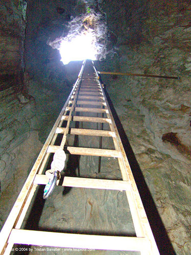 barra-honda cave - ladder (costa rica), barra honda cave, caverna terciopelo, caving, costa rica, hook, ladder, natural cave, rope, spelunking
