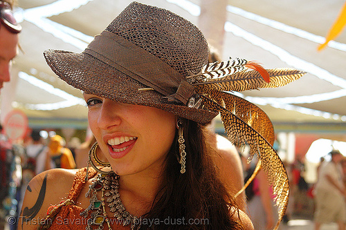 bavarian-style mesh hat with feathers - burning-man 2006, alpine hat, bavarian hat, burning man, center camp, fashion, feathers, fedora hat, mesh hat, woman