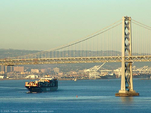 bay bridge (san francisco), boat, bridge pillar, bridge tower, cargo container ship, cargo ship, oakland harbor, suspension bridge