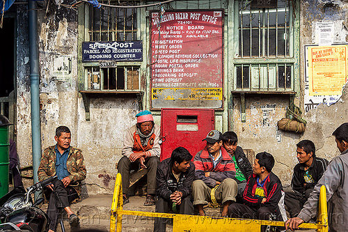 bazar post office - darjeeling (india), darjeeling, men, people, post office, sign, sitting, windows