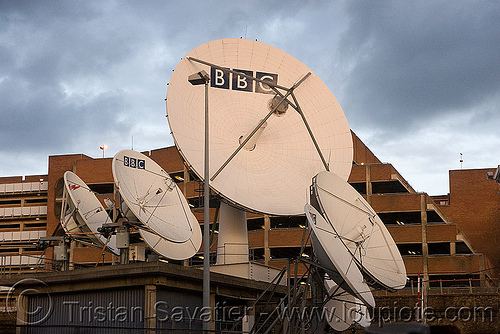 BBC satellite dishes - parabolic antennas - BBC television centre - broadcast station (london), bbc tv center, satellite dish, tvc