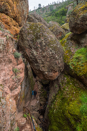 bear gulch cave trail - pinnacles national park (california), gulch, hiking, moss, pinnacles national park, sharon, talus cave, trail, woman