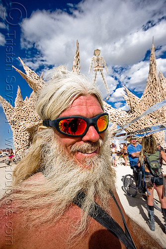 bearded burner - burning man 2009, burning man, goggles, heart, sunglasses, the man, white beard, white hair