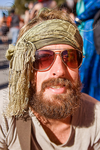 hippie, beard, burning man decompression, head band, henry, hippie, scarf, sunglassed