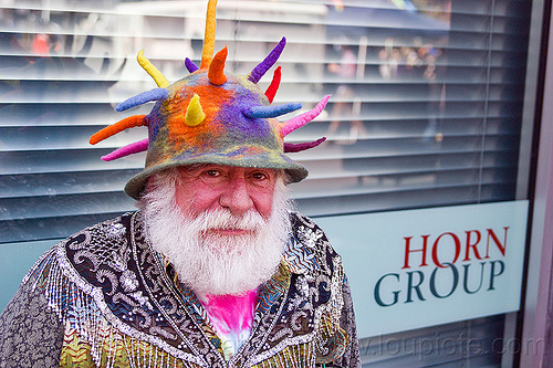 horn group, how weird festival, man, people, weird hat, white beard