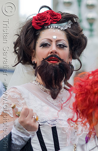 bearded lady, beard, bearded woman, brides of march, festival, pamela, wedding, white